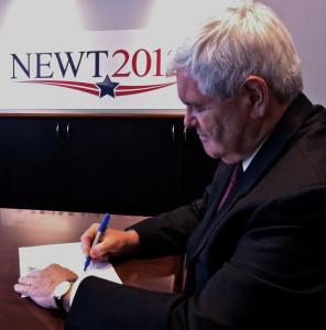 Former Speaker Newt Ginrich signing the Death Tax Repeal Pledge at his campaign headquarters in 2012
